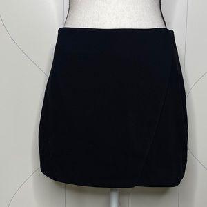 NWT Forever 21 tailored mock wrap skirt black M